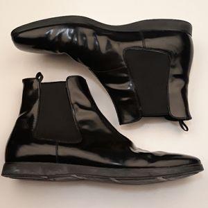 PRADA Black Patent Leather Sz 12.5 Chelsea Boots